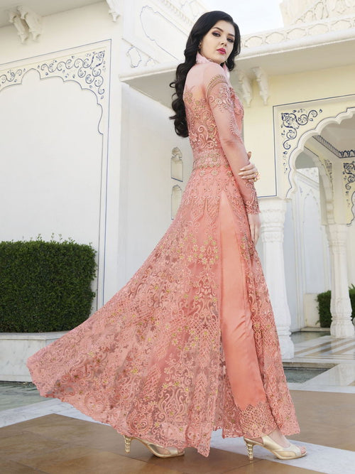 Peach And Green Anarkali Lehenga And Pant Suit
