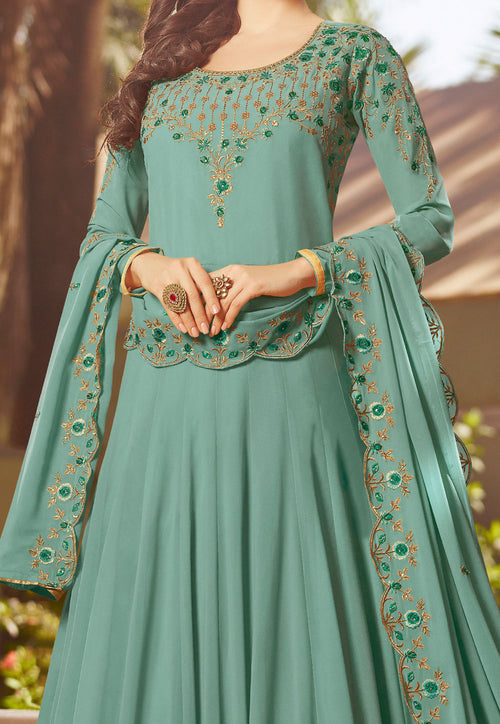 Multi Embroidered Georgette Anarkali Suit