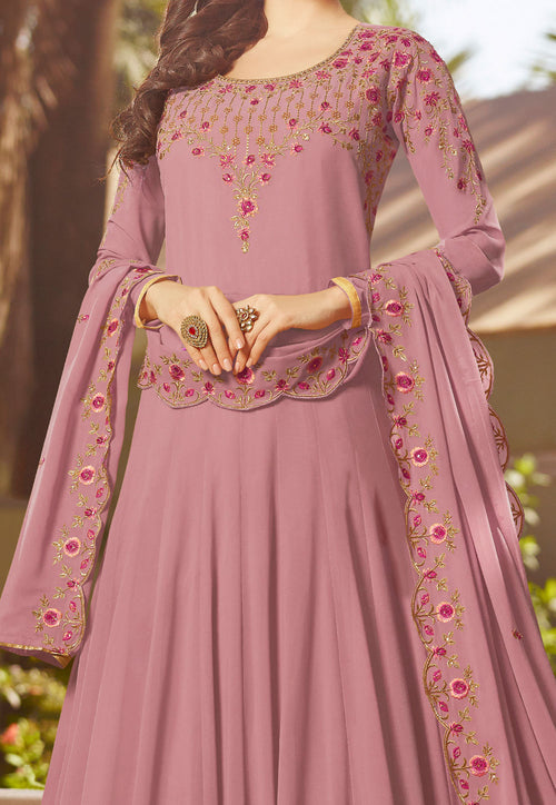 Purple Multi Embroidered Georgette Anarkali Suit