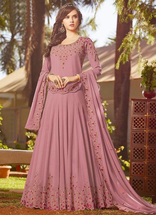 Light Purple With Multi Embroidered Georgette Anarkali Suit