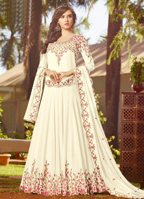 Off White With Multi Embroidered Georgette Anarkali Suit