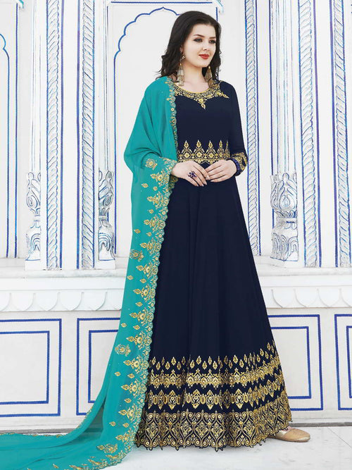 Blue And Turquoise Golden Embroidered Flared Anarkali Suit