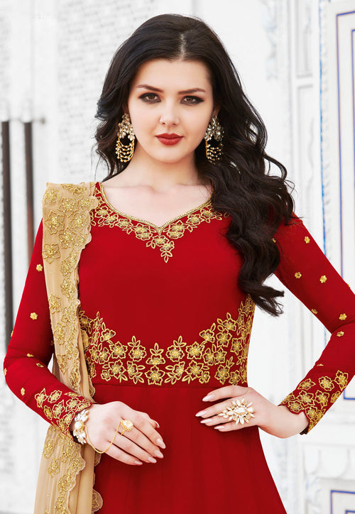 Red And Golden Anarkali Suit