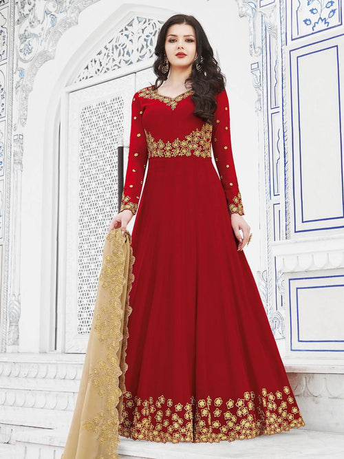 Red And Golden Embroidered Flared Anarkali Suit
