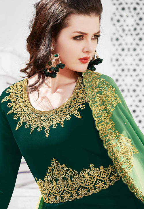 Green Dual Tone Anarkali Suit