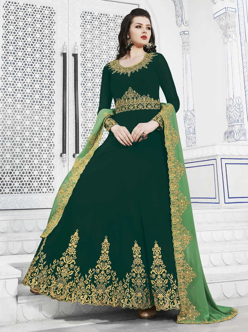 Green Dual Tone Golden Embroidered Flared Anarkali Suit