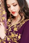 Purple  Golden Embroidered Flared Anarkali Suit