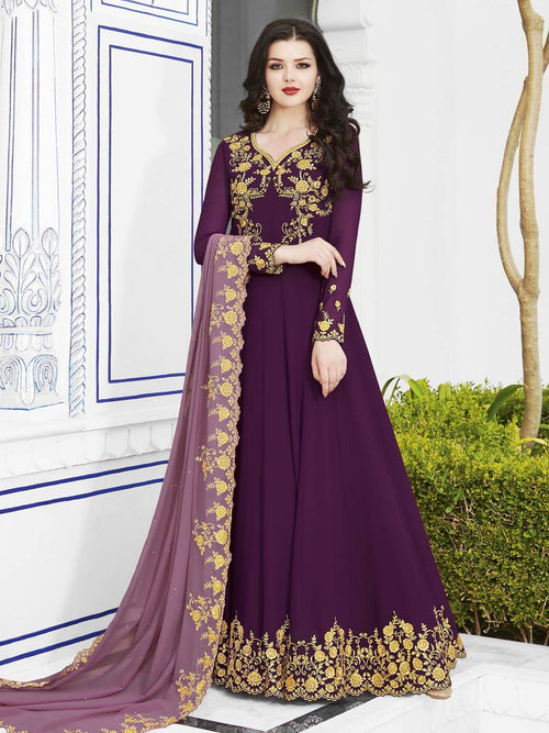 Purple Dual Tone Golden Embroidered Flared Anarkali Suit