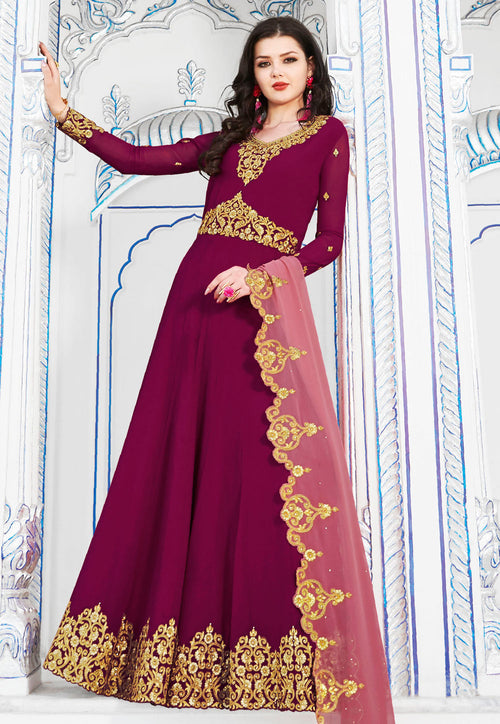 Pink Flared Anarkali Suit