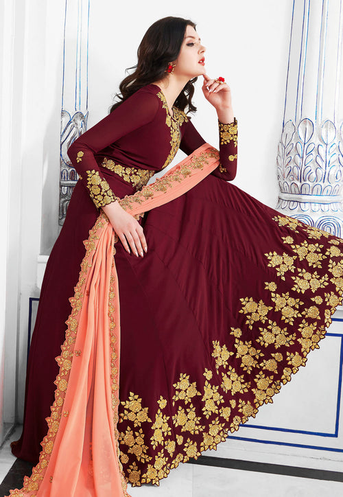 Maroon Embroidered Flared Anarkali Suit