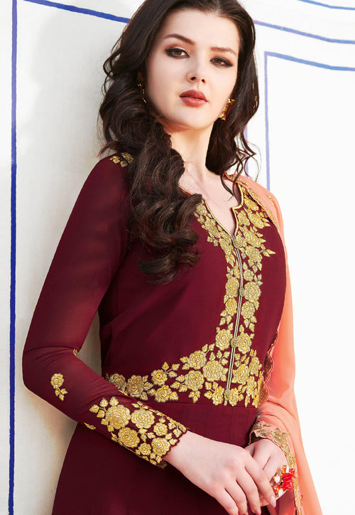 Maroon Flared Anarkali Suit