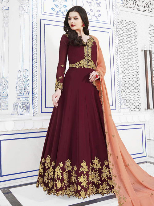 Maroon And Peach Golden Embroidered Flared Anarkali Suit