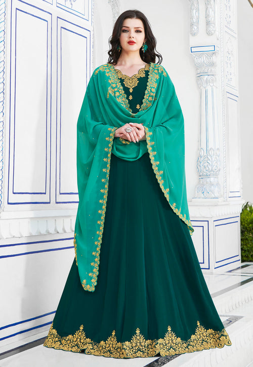 Dark Green Anarkali Suit