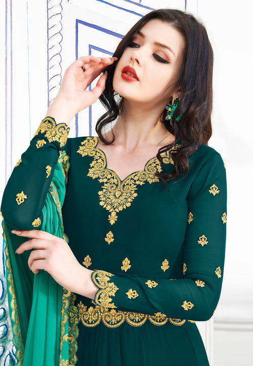 Dark Green Embroidered Flared Anarkali Suit