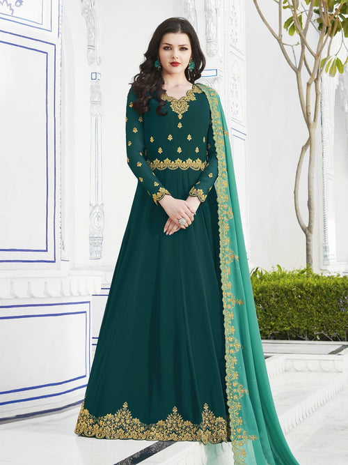 Dark Green And Rama Golden Embroidered Flared Anarkali Suit