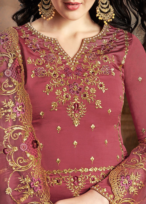 Rust Red Embroidered Indian Gharara Suit