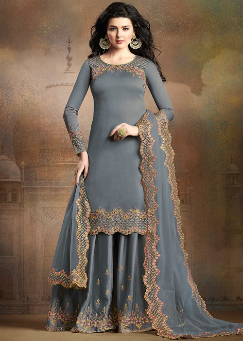 Pale Blue Embroidered Indian Gharara Suit