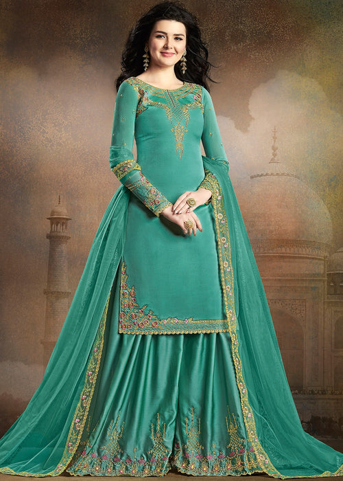Aqua Blue Embroidered Indian Gharara Suit