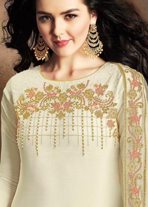 Off White Embroidered Indian Gharara Suit