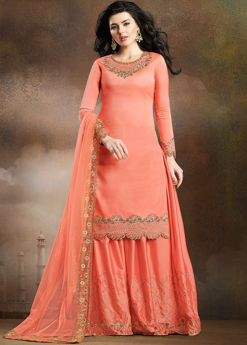 Peach Embroidered Indian Gharara Suit