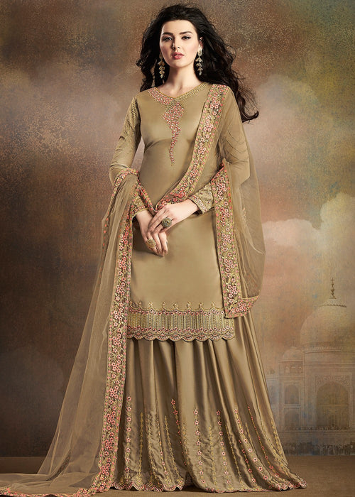 Olive Green Embroidered Indian Gharara Suit