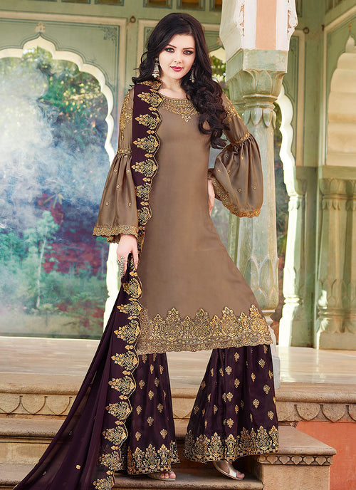 Brown Two Tone Embroidered Gharara Suit