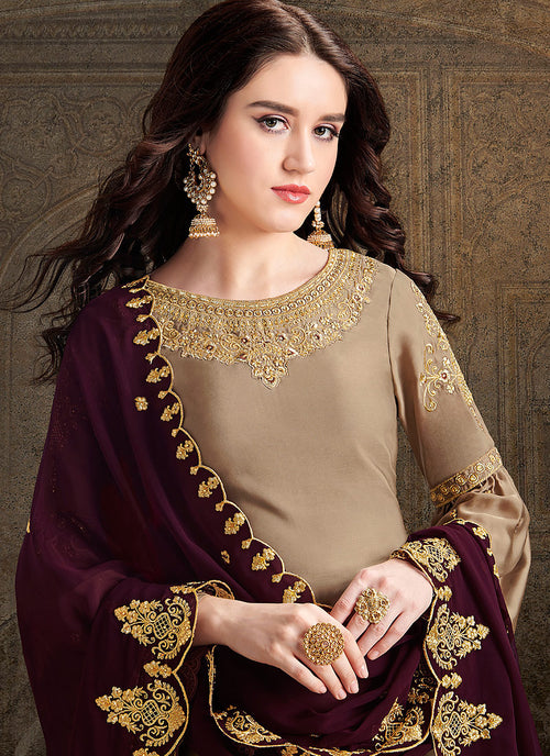 Golden And Maroon Designer Sharara Suit, Salwar Kameez