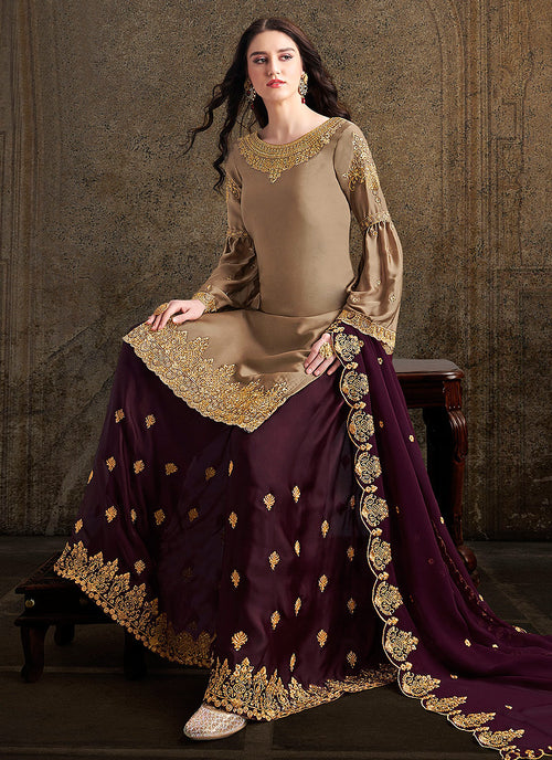 Golden And Maroon Designer Sharara Suit