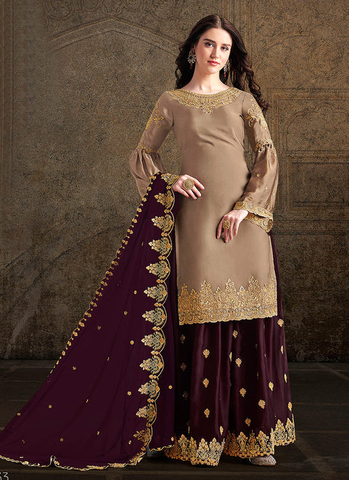 Indian Clothes - Golden And Maroon Designer Sharara Suit