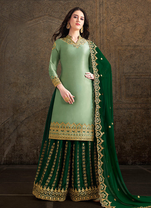 Green Designer Sharara Suit