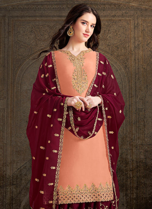 Peach And Maroon Designer Sharara Suit, Salwar kameez