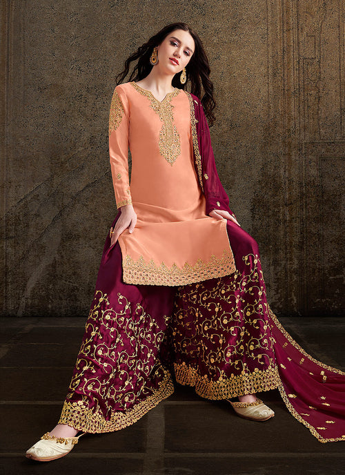 Peach And Maroon Designer Sharara Suit