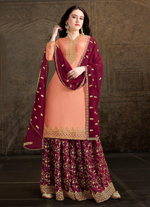 Indian Clothes - Peach And Maroon Designer Sharara Suit