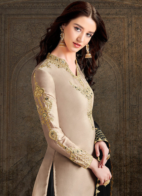 Black And Beige Designer Sharara Suit, Salwar Kameez