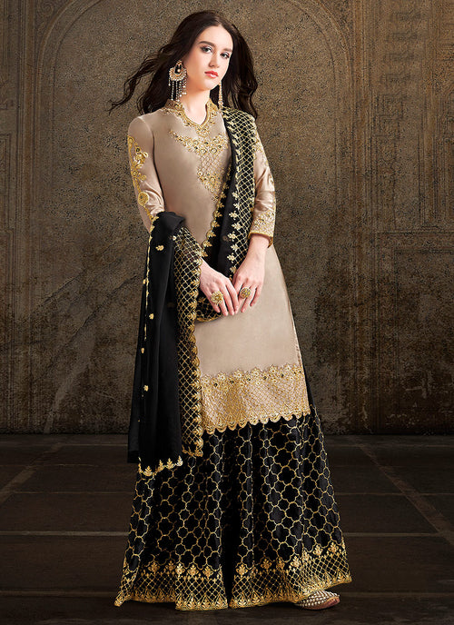 Black And Beige Designer Sharara Suit