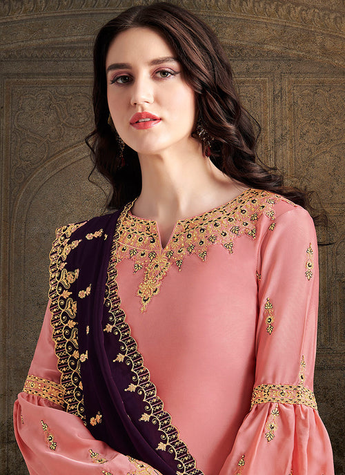 Peach And Purple Designer Sharara Suit, Salwar Kameez