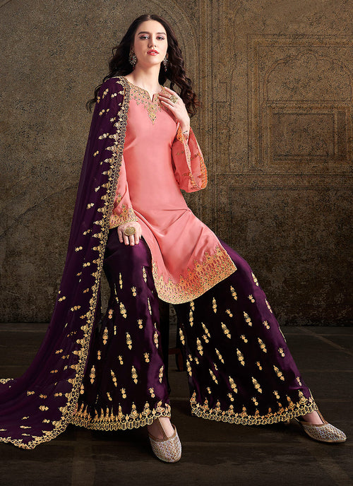 Indian Suits - Peach And Purple Designer Sharara Suit In usa