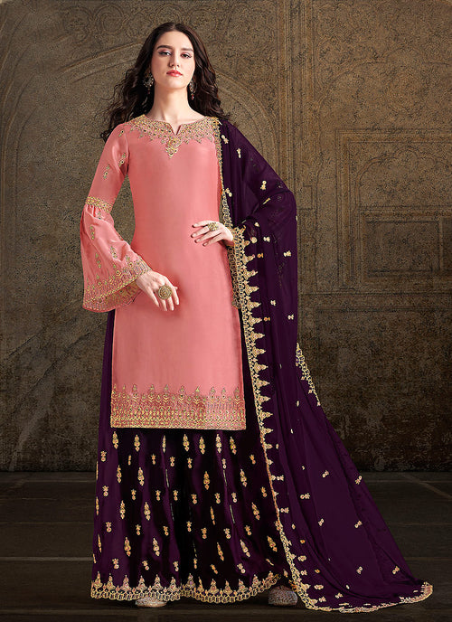 Indian Clothes - Peach And Purple Designer Sharara Suit