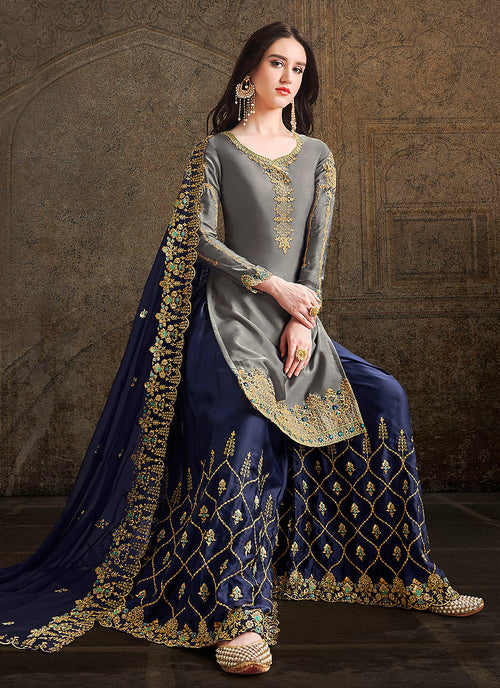 Grey And Blue Designer Sharara Suit