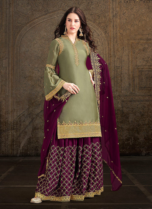 Indian Clothes - Green And Plum Designer Sharara Suit