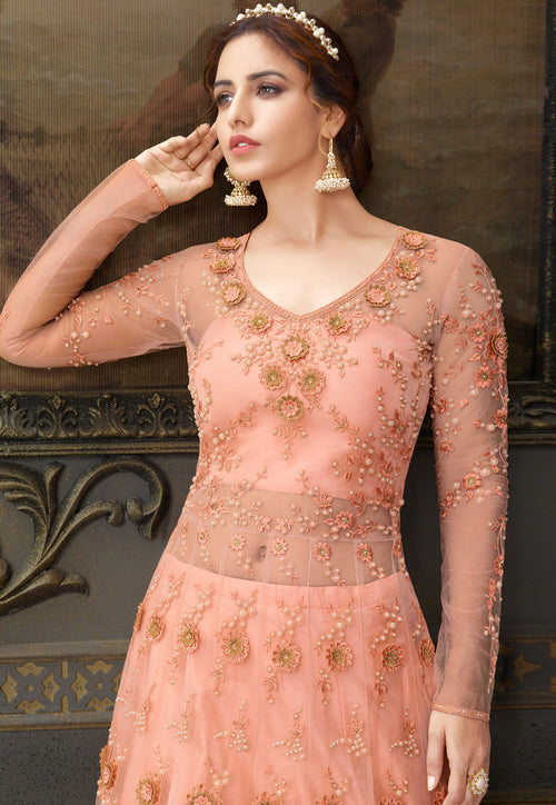Peach Anarkali Lehenga In usa uk