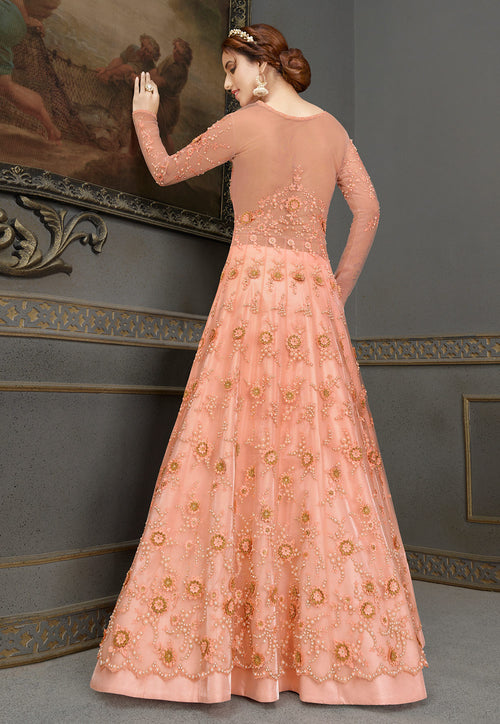 Peach Anarkali Lehenga In usa uk  canada