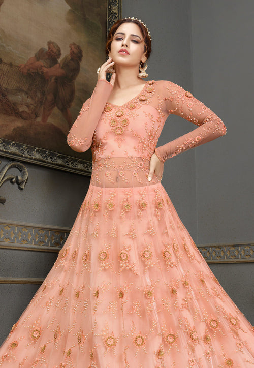 Peach Embroidered Anarkali Lehenga