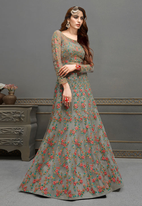 Grey Anarkali Lehenga In usa uk canada