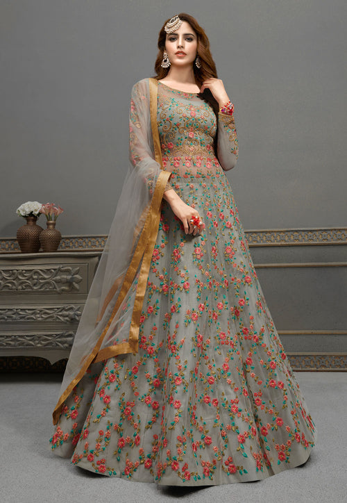 Grey Embroidered Anarkali Lehenga