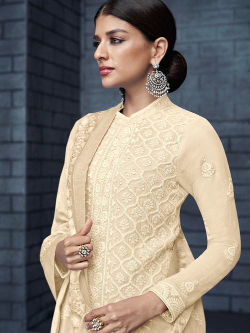 Beige Over All Lucknowi Designer Pant Suit