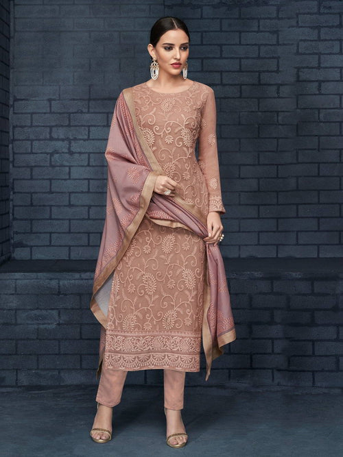 Rose Pink Over All Lucknowi Designer Pant Suit