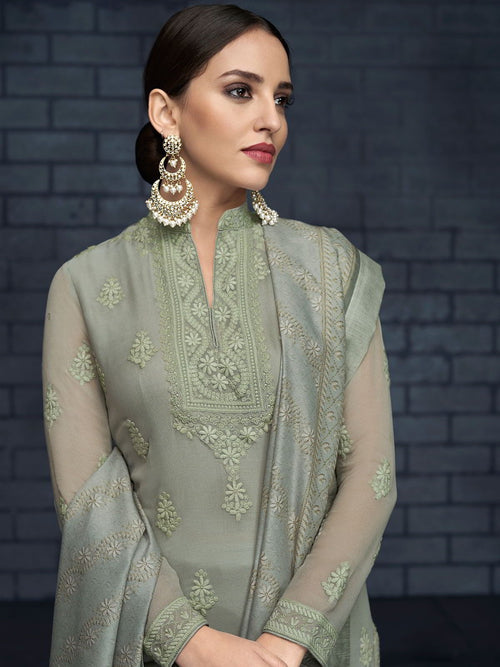 Pale Green Over All Lucknowi Designer Pant Suit