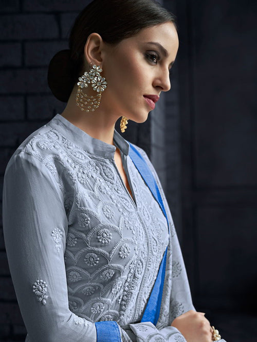 Light Blue Over All Lucknowi Designer Pant Suit