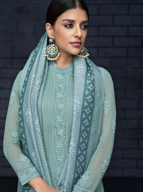 Sky Blue Over All Lucknowi Designer Pant Suit